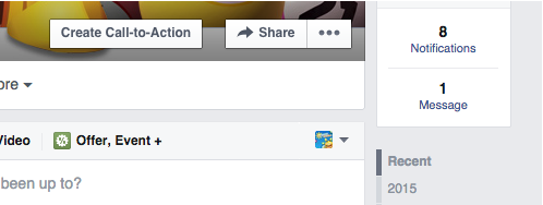 screenshot of Facebook call to action button