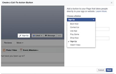 Screenshot of Facebook CTA dropdown menu