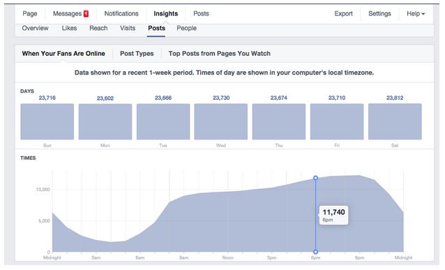 Screenshot of Facebook insights graph